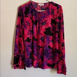 Calvin Klein Floral Long Sleeve Button Up Blouse